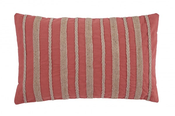 Zackery Transitional Coral Fabric Striped Pillow A1000521P