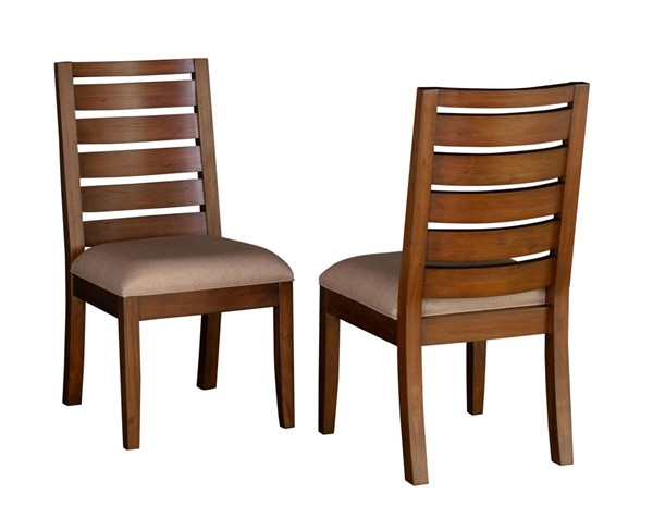 2 A-America Anacortes Mahogany Fabric Ladderback Side Chairs AAF-ANASM245K