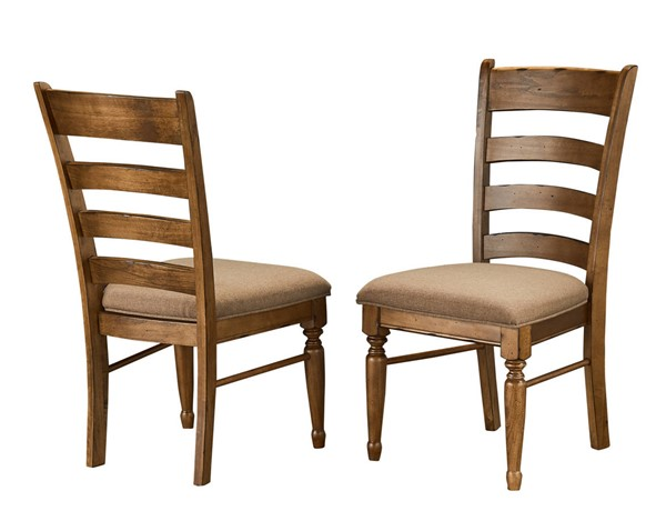 2 A-America Bennett Smoky Quartz Fabric Ladderback Side Chairs AAF-BENSQ2352