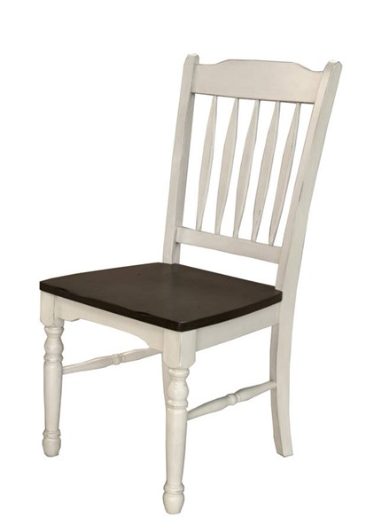 2 A-America British Isles Chalk Cocoa Bean Slatback Side Chairs AAF-BRICO267K
