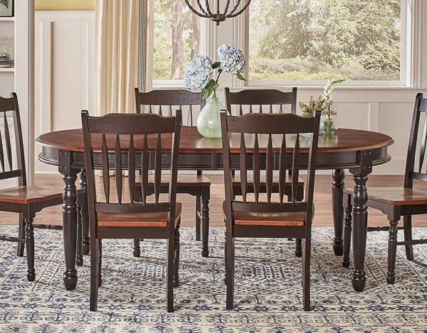 A-America British Isles Oak Black 12 Inch Leaves Oval Dining Table AAF-BRIOB6310