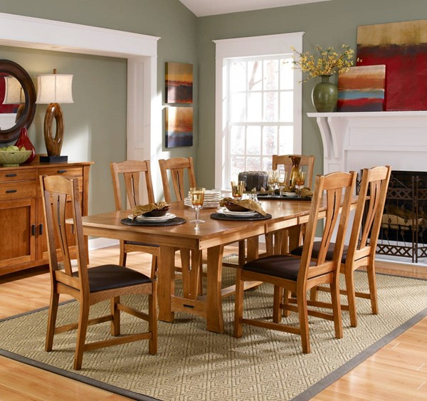 A-America Cattail Bungalow Warm Amber Leather 7pc Dining Room Set AAF-CATAM-DR-S1