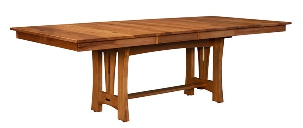 A-America Cattail Bungalow Warm Amber Trestle Table with 18 Inch Self Storing Leave AAF-CATAM6300