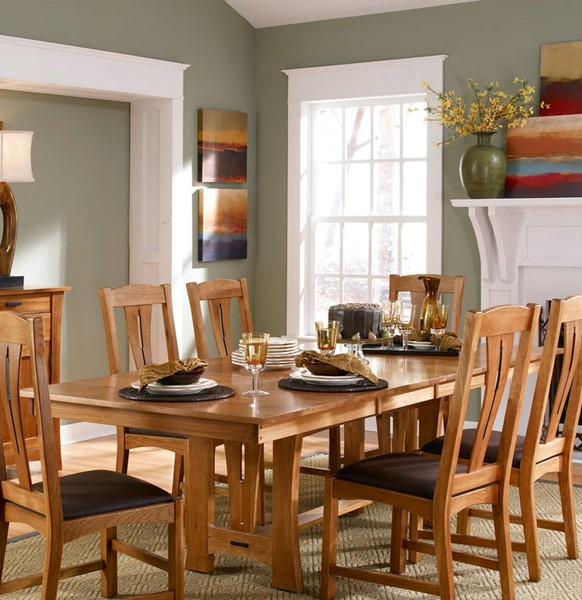 A-America Cattail Bungalow Warm Amber Trestle Tables with 18 Inch Self Storing Leaves AAF-CAT-6300-DT-VAR