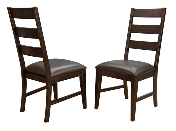 2 A-America Carter Rich Tobacco Faux Leather Ladderback Side Chairs AAF-CTRRT2552