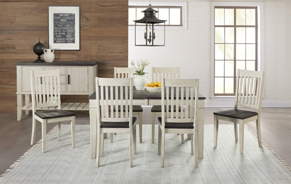 A-America Huron Chalk Cocoa Bean 7pc Dining Room Set with Leg Table and Slatback Chair AAF-HURCO-DR-S3