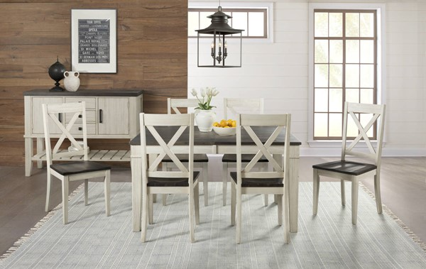 A-America Huron Chalk Cocoa Bean 7pc Dining Room Set with Leg Table and X Back Chair AAF-HURCO-DR-S1