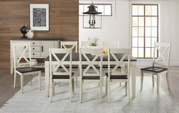 A-America Huron Chalk Cocoa Bean 9pc Dining Room Set with Leg Table and X Back Chair AAF-HURCO-DR-S2