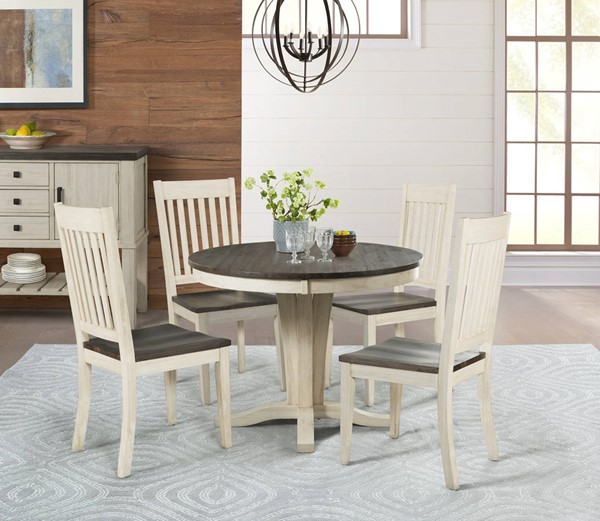 A-America Huron Chalk Cocoa Bean 5pc Dining Room Set with Slatback Chair AAF-HURCO-DR-S7
