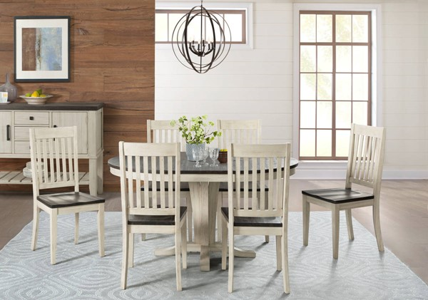 A-America Huron Chalk Cocoa Bean 7pc Dining Room Set with Slatback Chair AAF-HURCO-DR-S8