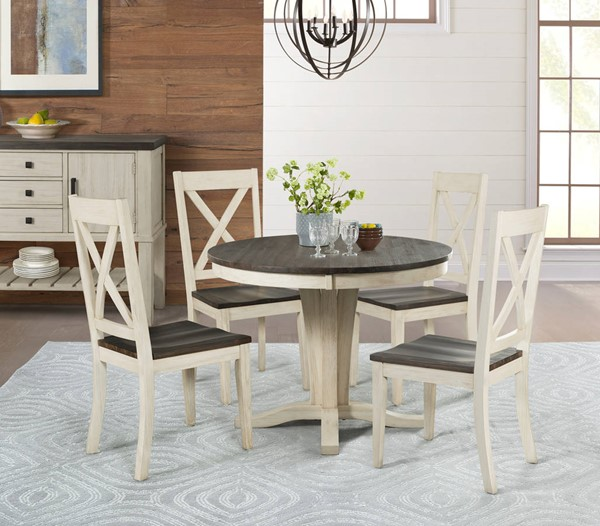 A-America Huron Chalk Cocoa Bean 5pc Dining Room Set with X Back Chair AAF-HURCO-DR-S5