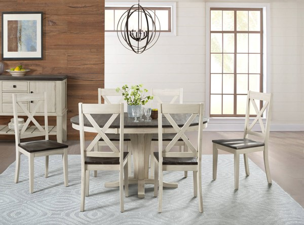 A-America Huron Chalk Cocoa Bean 7pc Dining Room Set with X Back Chair AAF-HURCO-DR-S6
