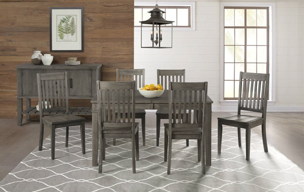 A-America Huron Distressed Grey 7pc Dining Room Set with Leg Table and Slatback Chair AAF-HURDG-DR-S3