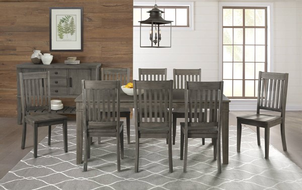 A-America Huron Distressed Grey 9pc Dining Room Set with Leg Table and Slatback Chair AAF-HURDG-DR-S4