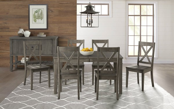 A-America Huron Distressed Grey 7pc Dining Room Set with Leg Table and X Back Chair AAF-HURDG-DR-S1