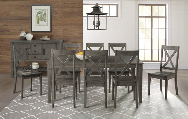 A-America Huron Distressed Grey 9pc Dining Room Set with Leg Table and X Back Chair AAF-HURDG-DR-S2