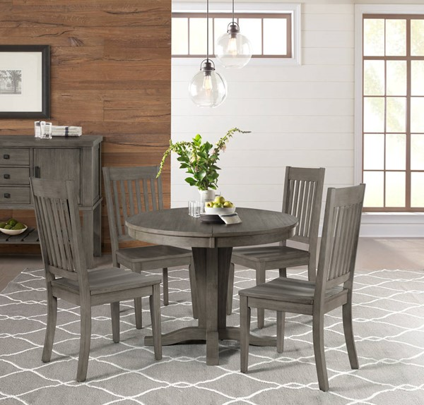 A-America Huron Distressed Grey 5pc Dining Room Set with Slatback Chair AAF-HURDG-DR-S7