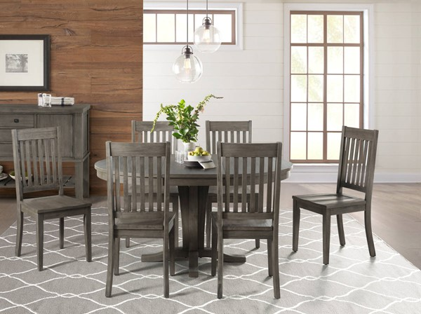 A-America Huron Distressed Grey 7pc Dining Room Set with Slatback Chair AAF-HURDG-DR-S8