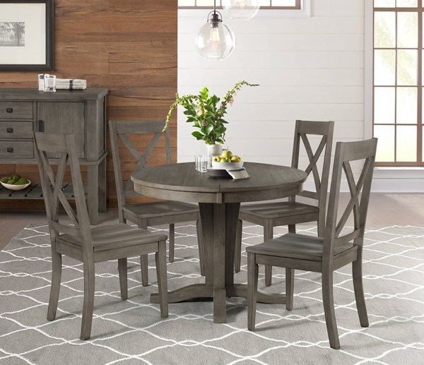 A-America Huron Distressed Grey 5pc Dining Room Set with X Back Chair AAF-HURDG-DR-S5