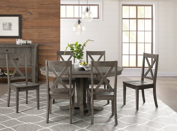 A-America Huron Distressed Grey 7pc Dining Room Set with X Back Chair AAF-HURDG-DR-S6