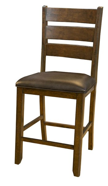 2 A-America Mason Mango Dark Brown Faux Leather Ladderback Stools AAF-MASMA355K