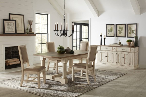 A-America Monastery Parchment Ivory Fabric 5pc Dining Room Set AAF-MOAPI-DR-S1