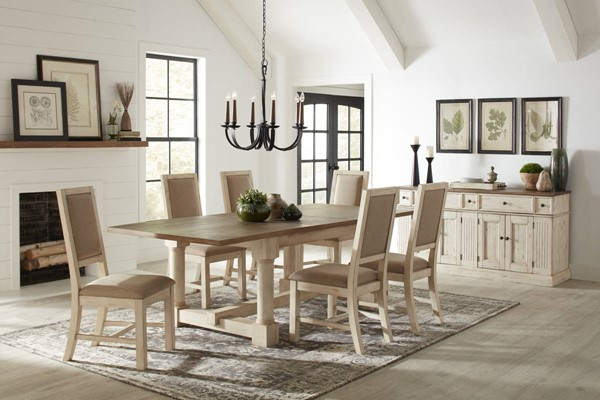 A-America Monastery Parchment Ivory Fabric 7pc Dining Room Set AAF-MOAPI-DR-S2