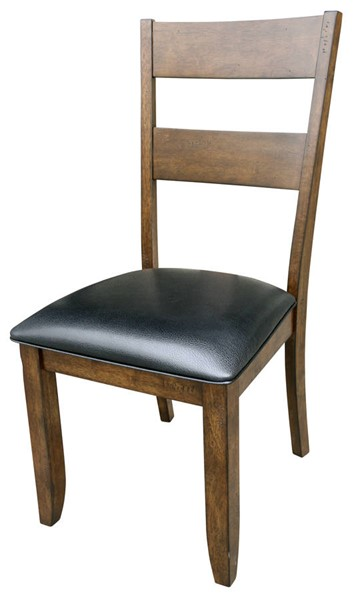 A-America Mariposa Black Rustic Whiskey Faux Leather Ladderback Side Chairs AAF-MRP-255K-DCH-VAR