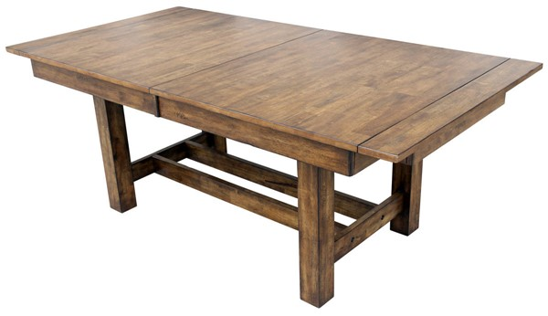 A-America Mariposa Rustic Whiskey 18 Inch Butterfly Leaves Trestle Tables AAF-MRP-6080-DT-VAR