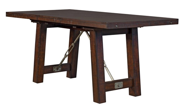A-America Sundance Rough Sawn Mahogany 18 Inch Leaf Gathering Height Trestle Table AAF-SDNRM6700
