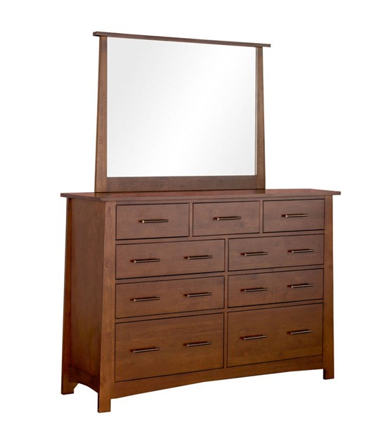 A-America Sodo Whiskey Brown 9 Drawer Dresser and Mirror AAF-SODWB55-DRMR
