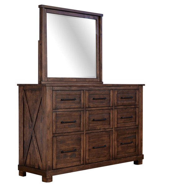 A-America Sun Valley Rustic Timber 9 Drawer Dresser and Mirror AAF-SUVRT55-DRMR