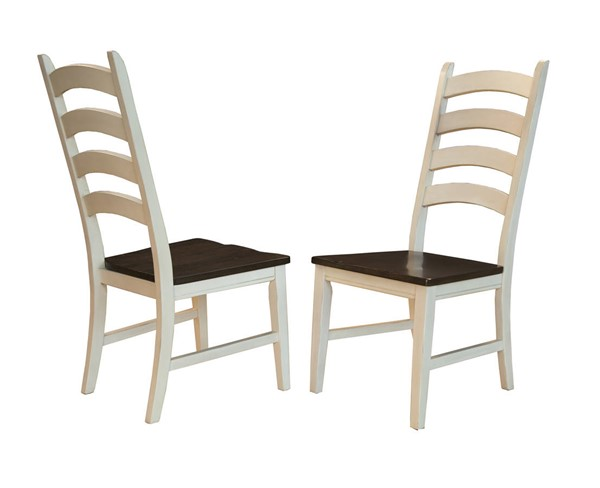 2 A-America Toluca Chalk Cocoa Bean Ladderback Side Chairs AAF-TOLCH275K