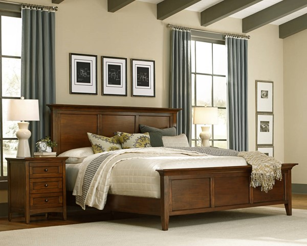 A-America Westlake Cherry Brown 2pc Bedroom Set with Queen Mansion Bed AAF-WSLCB-BR-S1