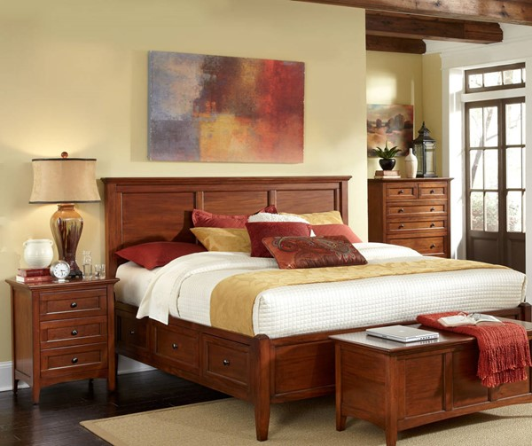A-America Westlake Cherry Brown 2pc Bedroom Set with King Storage Bed AAF-WSLCB-BR-S4