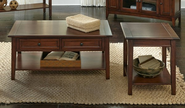 A-America Westlake Cherry Brown 3pc Coffee Table Set AAF-WSLCB-OCT-S1