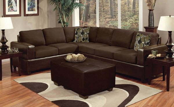 Madrid Chocolate Espresso Wood Bycast PU Sectional Sofa with Ottoman ACM-00107-SET