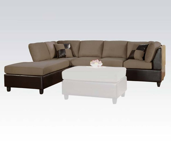 acme furniture lisbon sectional sofa with two pillows the classy home. Black Bedroom Furniture Sets. Home Design Ideas