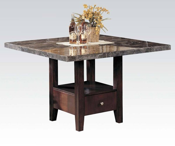 Danville Transitional Black Dining Table W/Walnut Marble Top ACM-00280