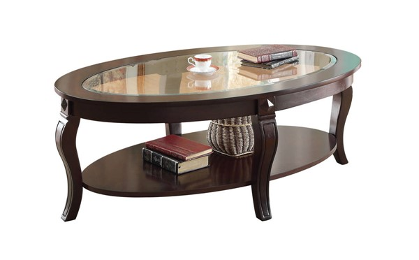 Acme Furniture Riley Walnut Coffee Table with Glass Top ACM-00450