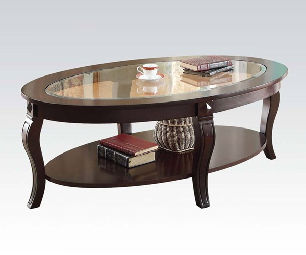 Riley Walnut Glass Wood 3pc Coffee/End Table Set ACM-00450S