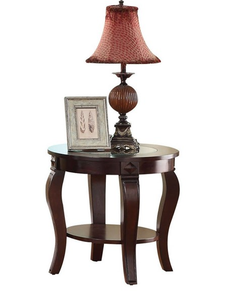Acme Furniture Riley Walnut End Table with Glass Top ACM-00452