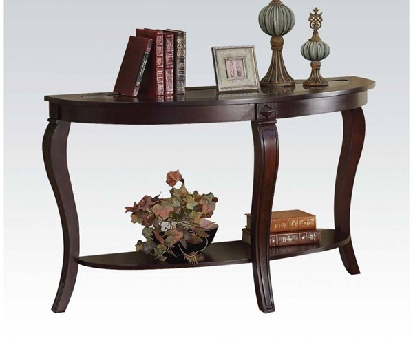 Riley Walnut Wood Glass Sofa Table w/Shelf ACM-00453