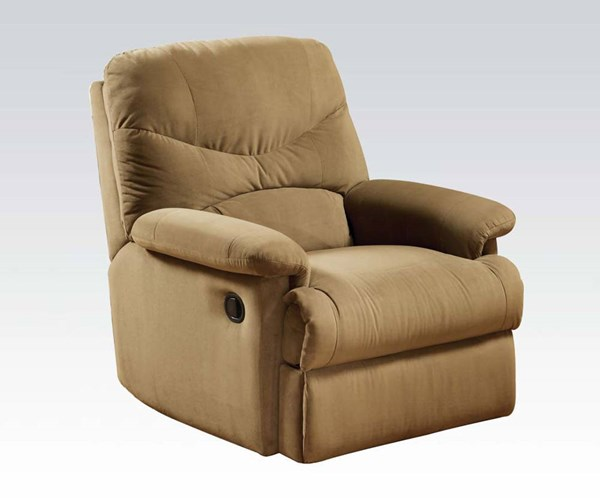 Arcadia Light Brown Fabric Wood Padded Arms & Cushion Back Recliner ACM-00627