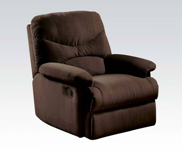 Arcadia Chocolate Fabric Wood Padded Arms & Cushion Back Recliner ACM-00632