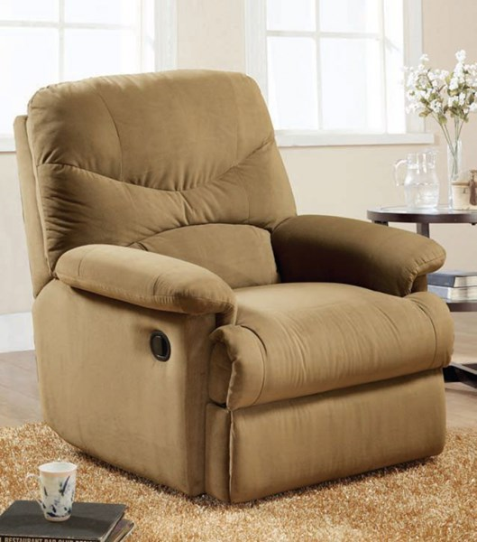 Arcadia Light Brown Fabric Wood Glider Recliner ACM-00634