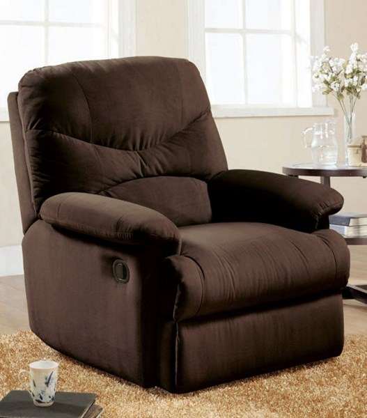 Arcadia Chocolate Fabric Wood Glider Recliner ACM-00635