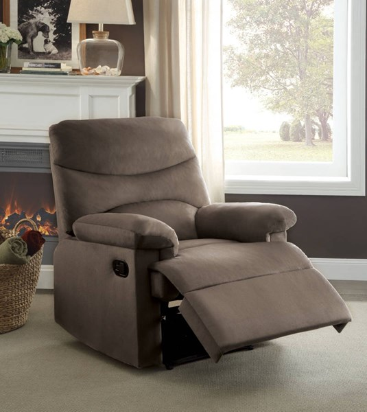 Arcadia Light Brown Fabric Solid Wood CA117 Foam Metal Recliner ACM-00703