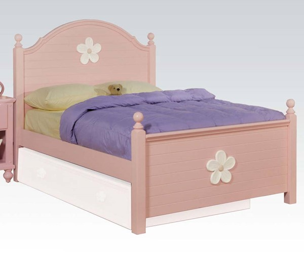 Floresville Youth Pink Wood Twin Size Panel Bed ACM-00735T