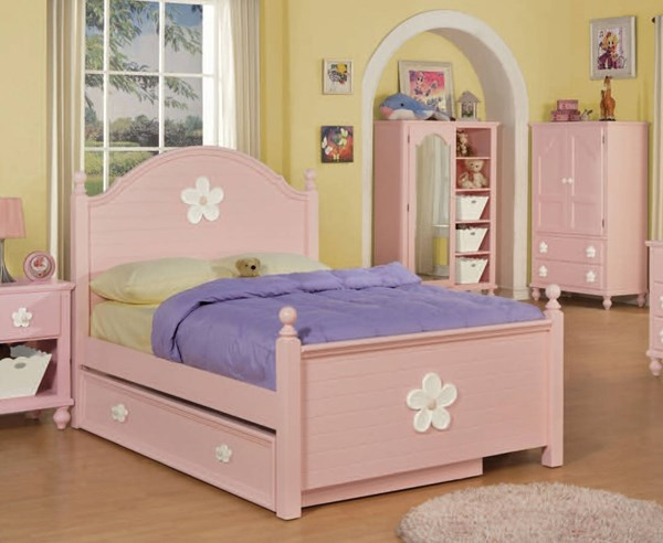 Floresville Pink Wood Twin Bed w/Trundle ACM-00735T-TRN
